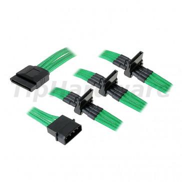 BitFenix Molex na 4x SATA Adapter 20 cm - sleeved green/black