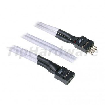 BitFenix internal USB Extension Cable 30cm - sleeved white/black